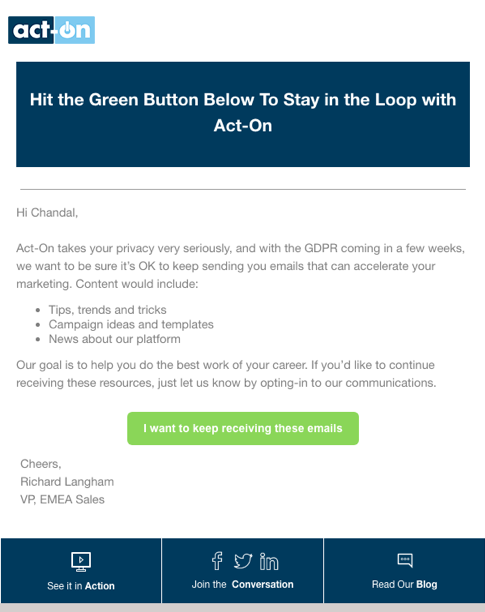 act on GDPR email campaign example