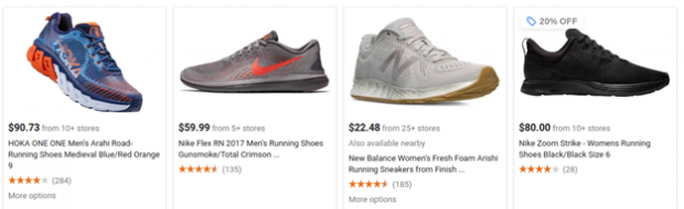 Example of Google Shopping ad for sneakers