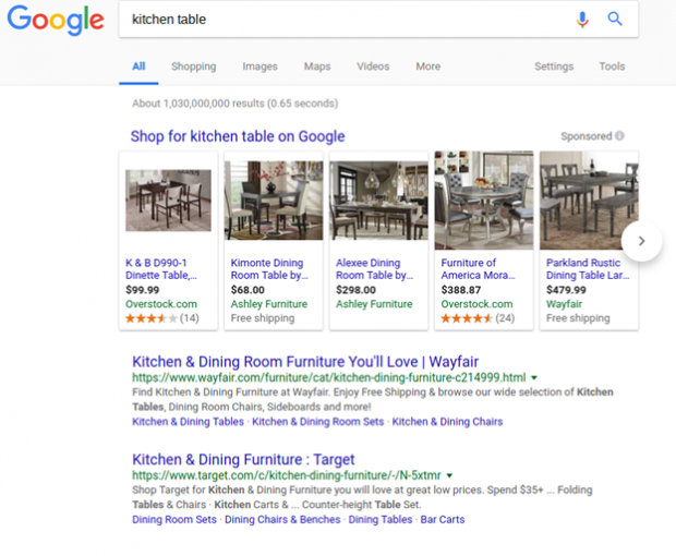Product Listing Google Shopping Ads for Kitchen Table