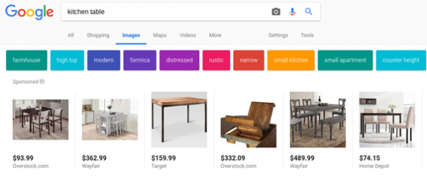 Google Shopping sponsored ads in Google image search