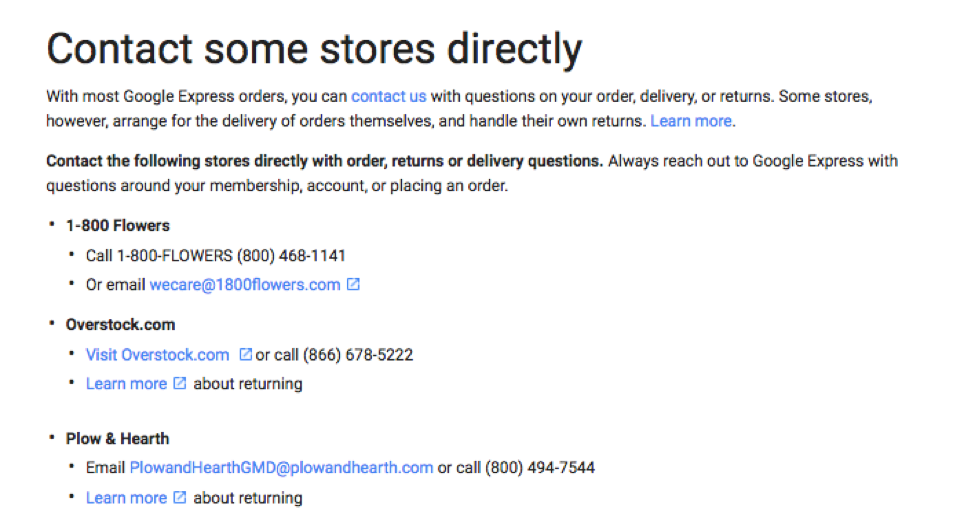 contact stores directly screenshot