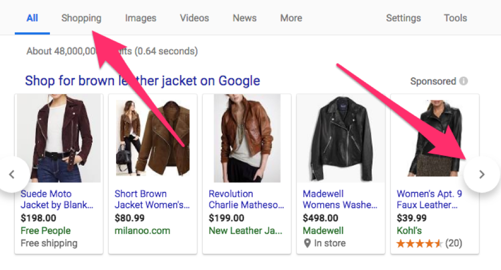 brown leather jacket search screenshot