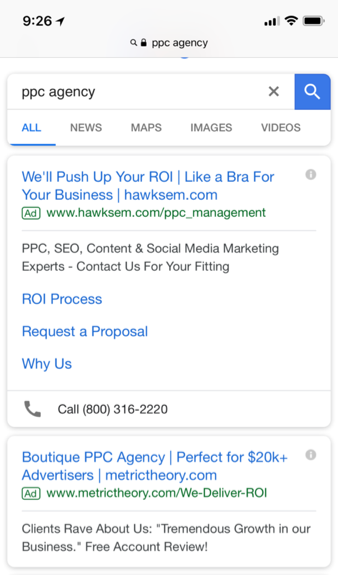 google mobile ad screenshot