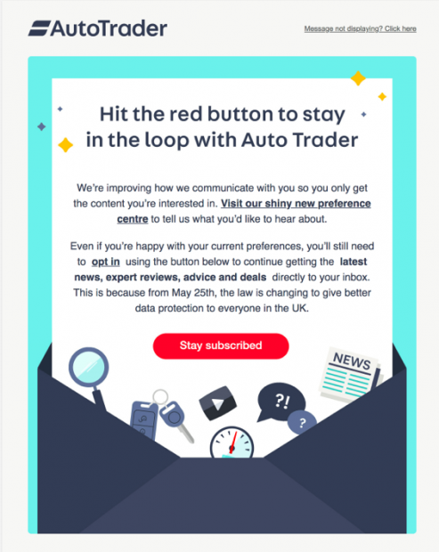 auto trader gdpr email campaign example