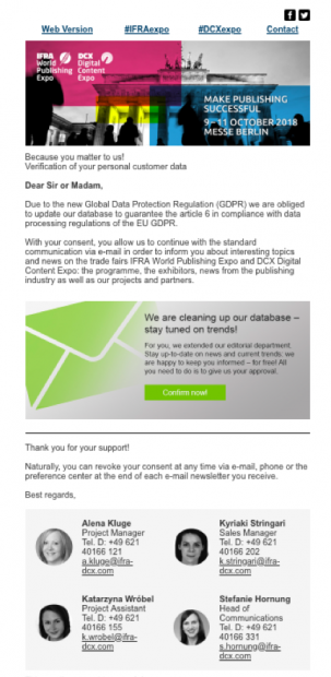 IFRA and DCX opt in gdpr email campaign example