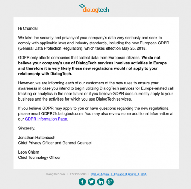DialogTech GDPR client email campaign example
