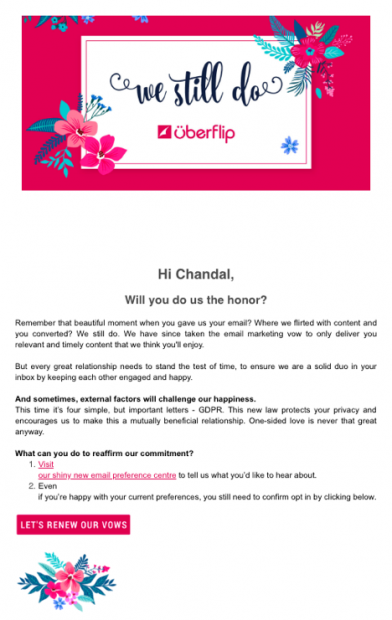 Uberflip GDPR email campaign example