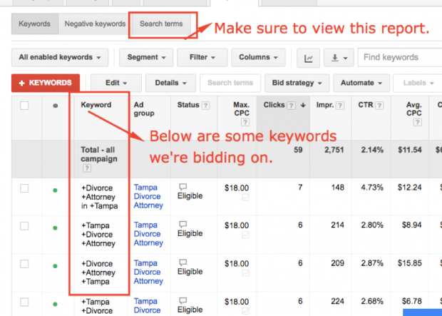 How to get to AdWords Search Terms report inside AdWords screenshot
