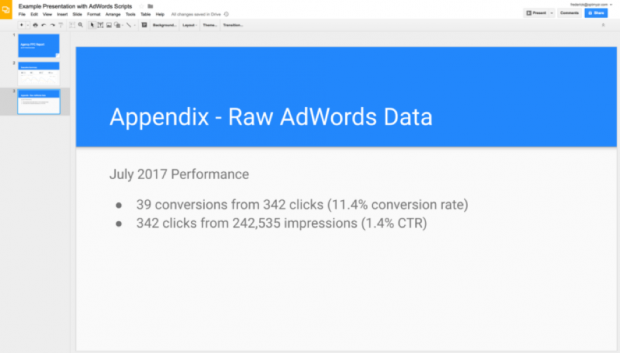Adwords scripts for Google slides for ppc reporting