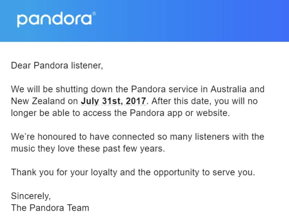 Pandora email screenshot