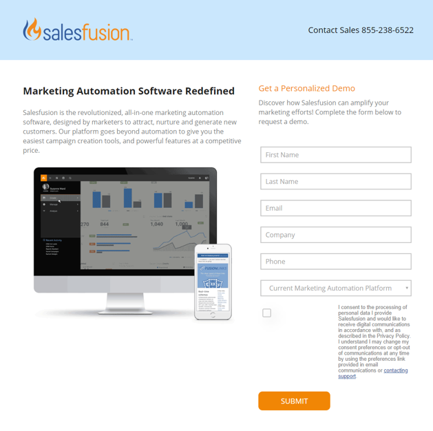 salesfusion landing page