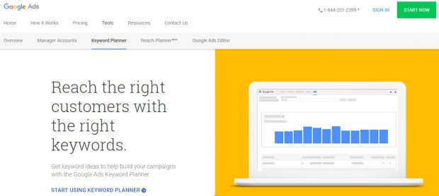 screenshot of Google Ads keyword planner landing page