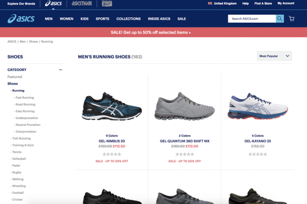 Screenshot of Basics shoes
