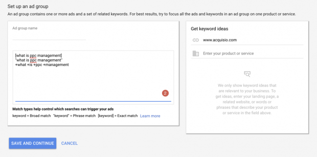 match type set up for keywords in adwords