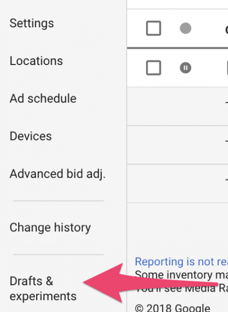 showing drafts and experiments inside adwords