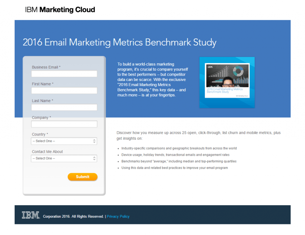 ibm marketing cloud landing page