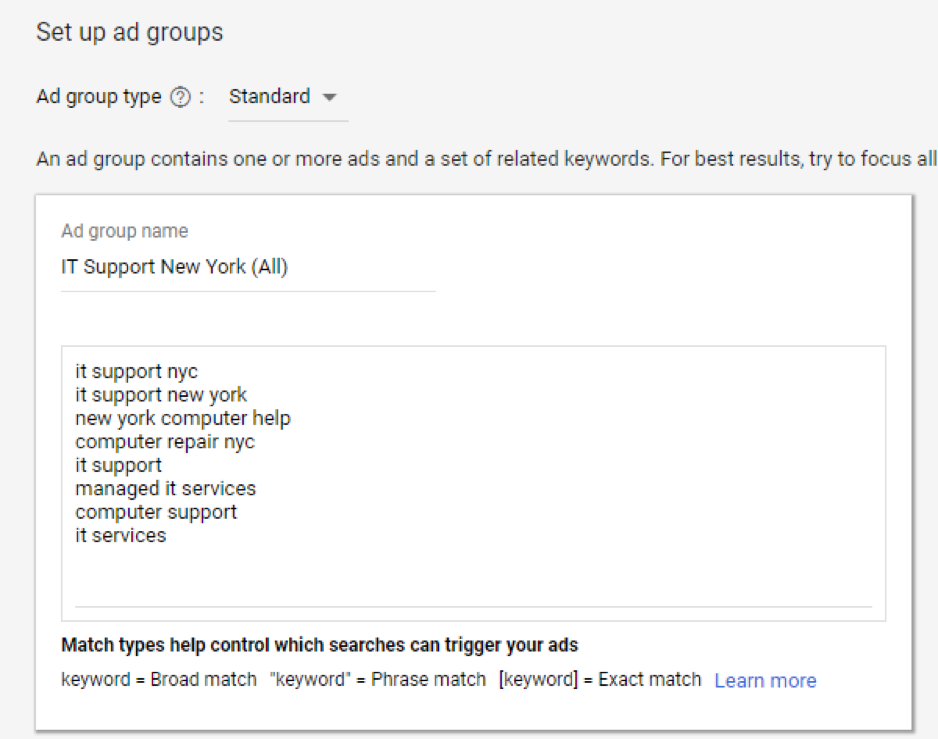 set up ad groups adwords screenshot