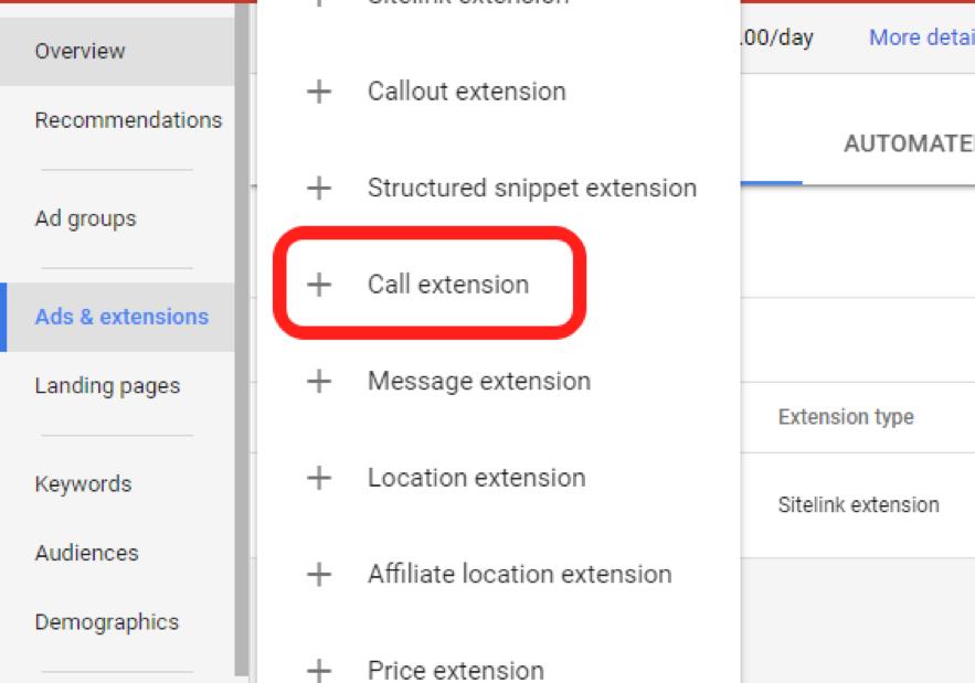 call extensions screenshot