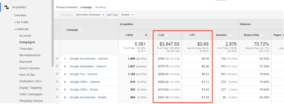 adwords analytics connection screenshot