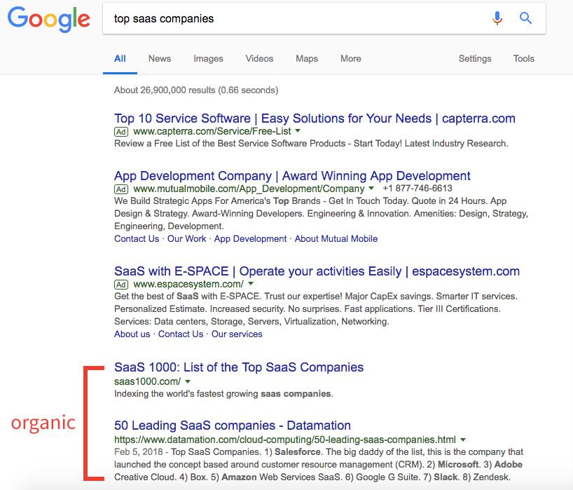 serp organic listing screenshot