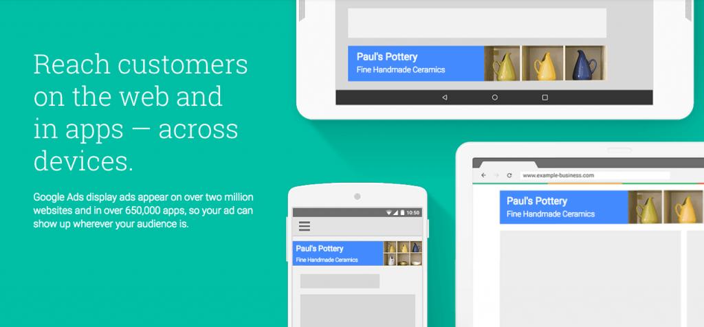 screenshot of google display advertising site