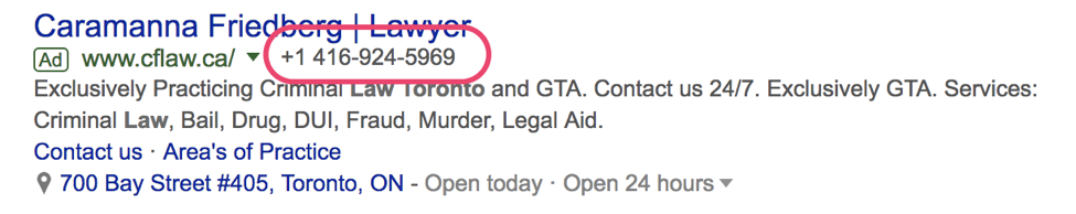 Google SERP results for lawyer