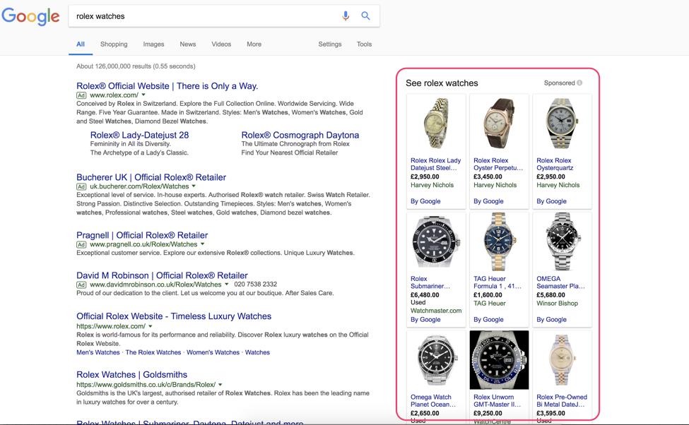 google shopping serp screenshot