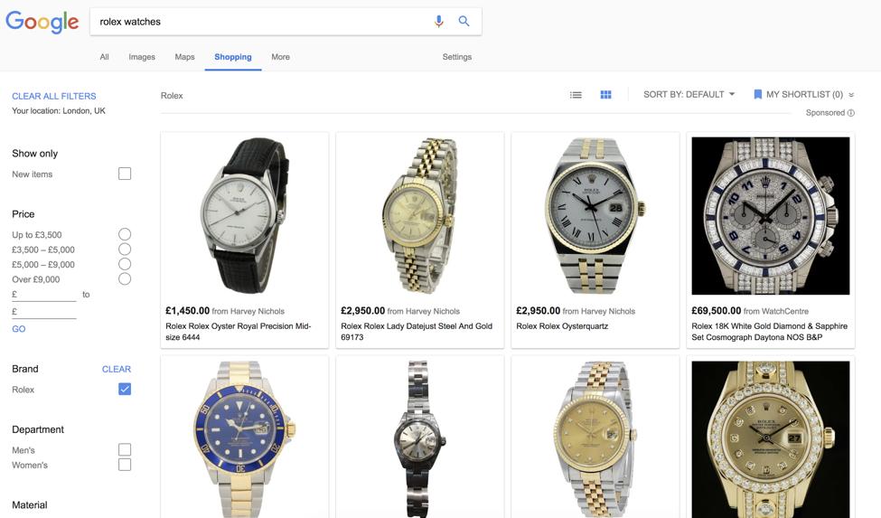 google shopping rolex watch