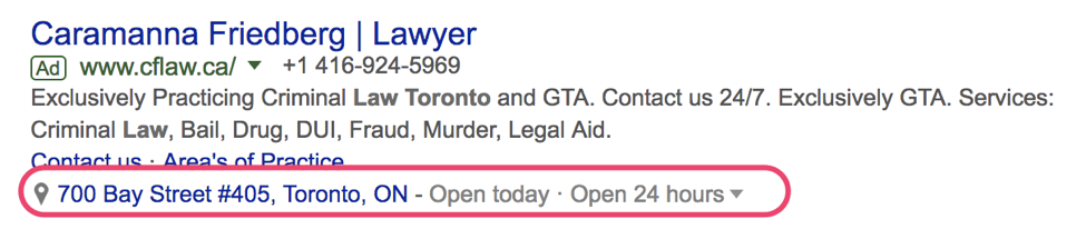 Google SERP lawyer results