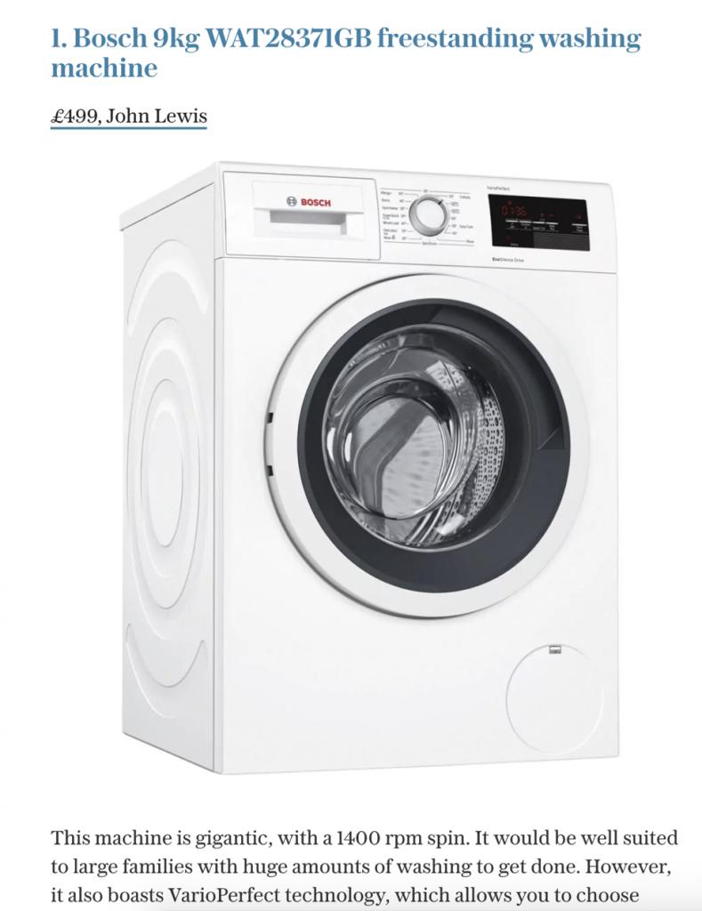 washing machine article