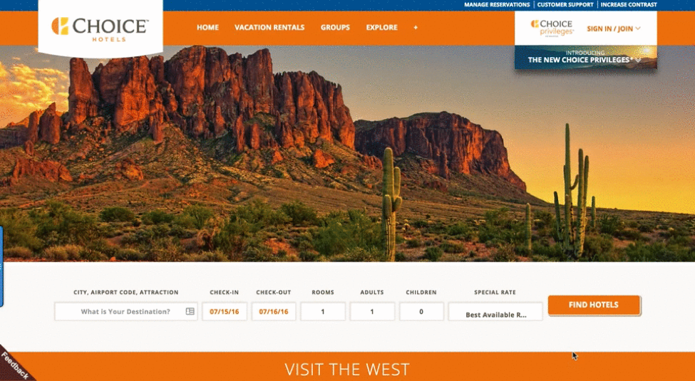 choice hotels new landing page