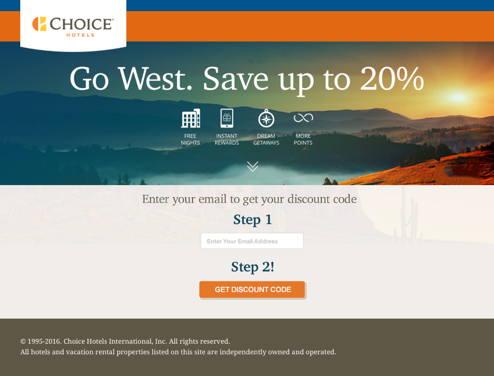 choice hotels landing page