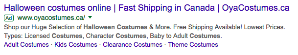 oya costumes ad screenshot