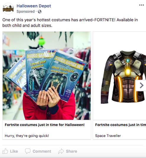 halloween depot facebook ad example