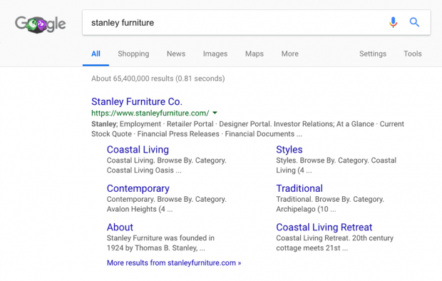 An example of a branded search