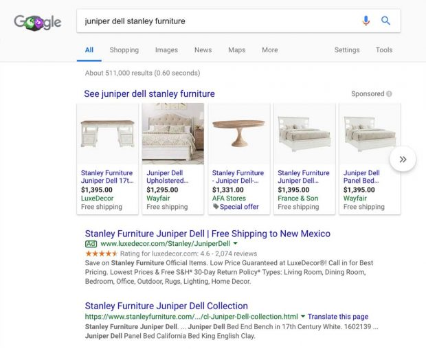 An example of how sitelink only appear for branded searches