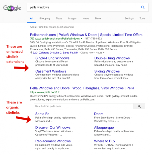 Organic sitelinks versus Google Ads sitelinks