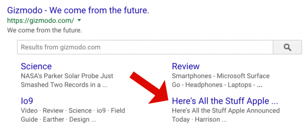 Organic sitelinks can change from search to search