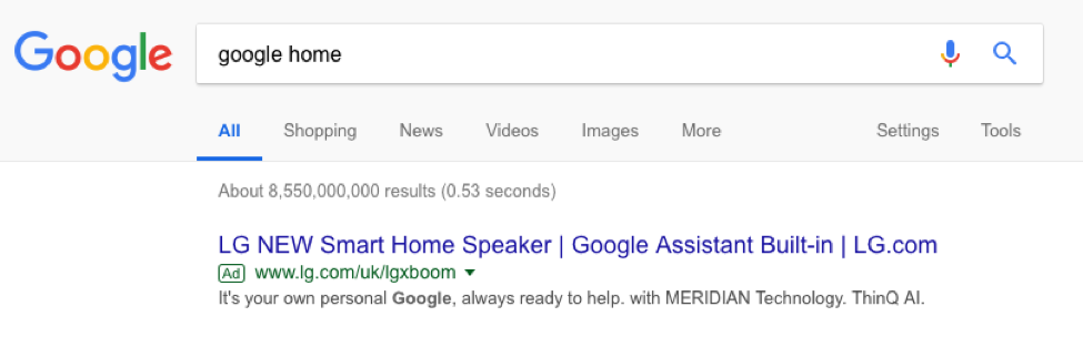 google home serp