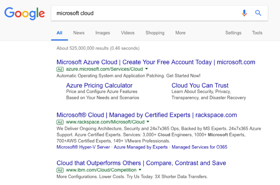microsoft cloud serp