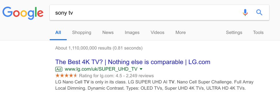 sony tv serp