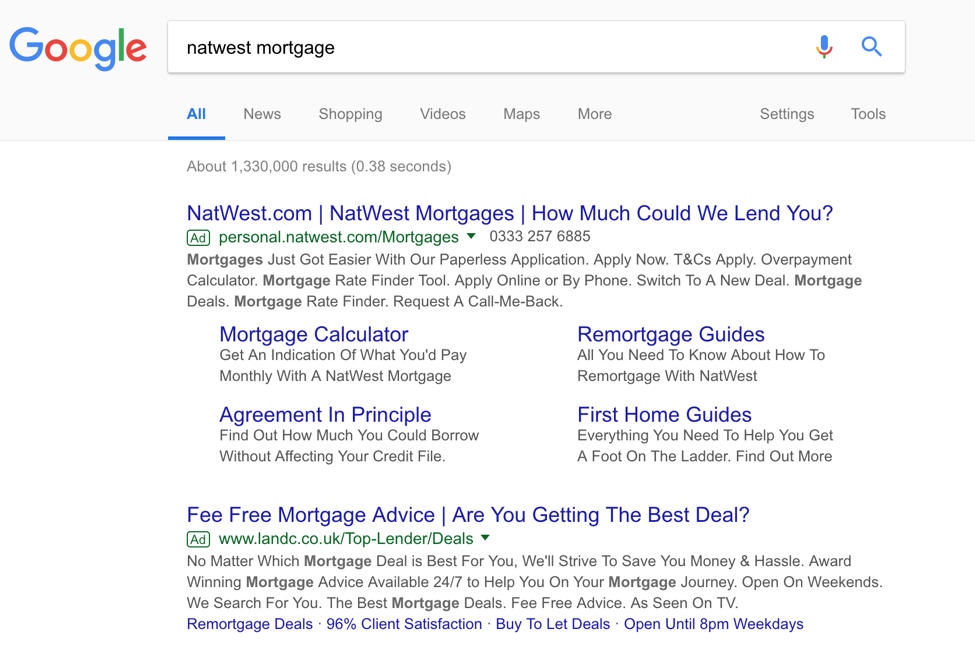 Natwest Mortgage serp