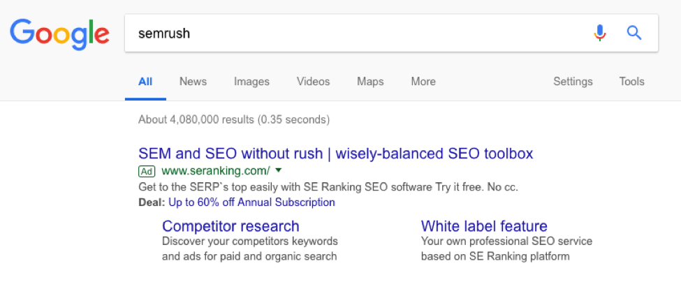 semrush serp