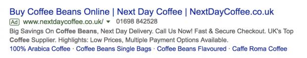 online coffee store sitelinks