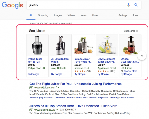 PLA ads in Google for juicers