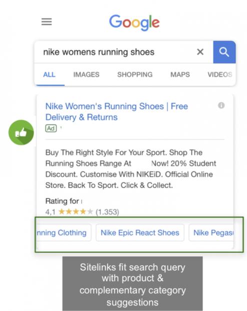 example of relevant sitelinks