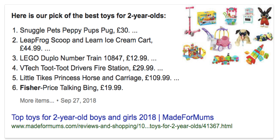 Christmas gifts for a two year old serp results screenshot
