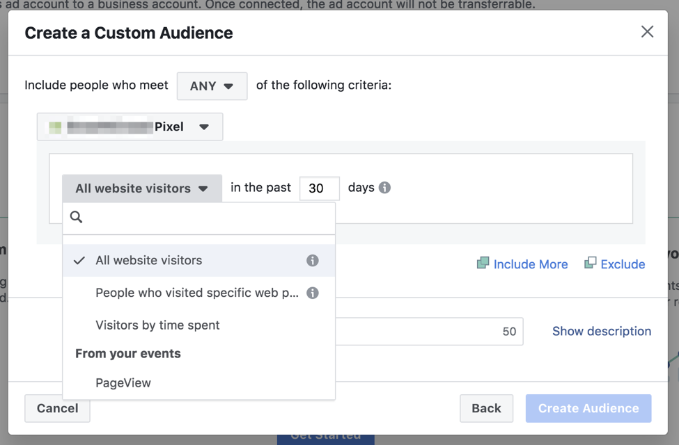 create custom audience screenshot