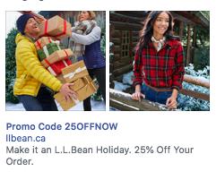 LL bean facebook ad