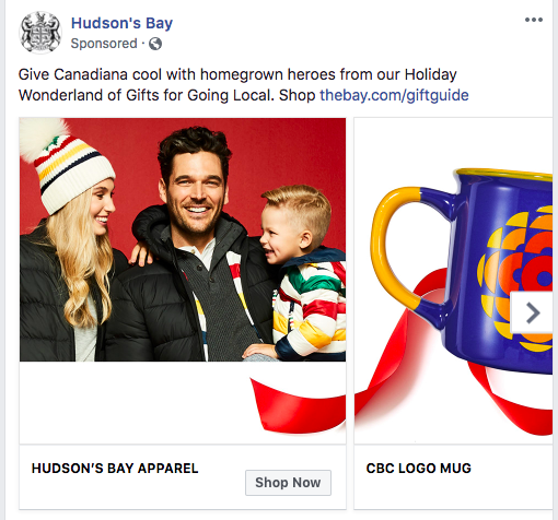 hudson's bay facebook ad